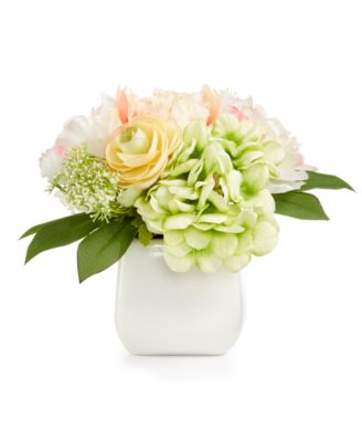 Spring Ranunculus/Rose/Hydrangea Artificial Potted Flower Arrangement, Created for Macy's