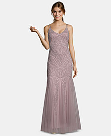 XSCAPE Embellished Mesh Gown