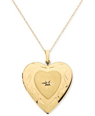 14k gold necklace diamond accent locket