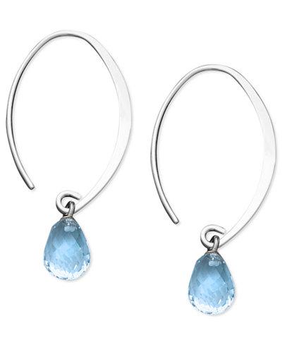 Blue Topaz Briolette Earrings (8 ct. t.w.) in 14k White Gold