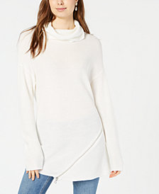 Bar III Zipper-Trim Turtleneck Sweater, Created for Macy's