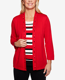 Alfred Dunner Petite Grand Boulevard Striped Layered Look Sweater