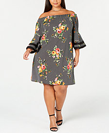 Love Squared Trendy Plus Size Printed Off-The-Shoulder Dress