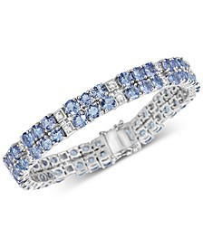 Sapphire (18 ct. t.w.) & White Topaz (2 ct. t.w.) Tennis Bracelet in Sterling Silver (Also available in Tanzanite)