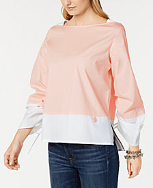 Tommy Hilfiger Colorblocked Drawstring-Sleeve Top, Created for Macy's