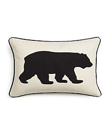Eddie Bauer Bear Applique Grey Felt Breakfast Pillow