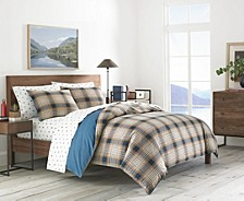 Elliot Plaid Dark Blue Twin Comforter Set
