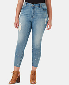 Jessica Simpson Juniors' Ripped Curvy Plus Size Skinny Jeans