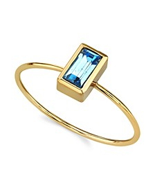 14K Gold Dipped Rectangle Crystal Ring