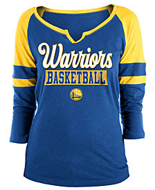 5th & Ocean Women's Golden State Warriors Slub Foil Raglan T-Shirt
