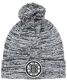 Boston Bruins Black White Cuffed Pom Knit Hat