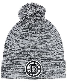 Authentic NHL Headwear Boston Bruins Black White Cuffed Pom Knit Hat