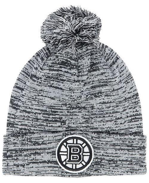 Authentic NHL Headwear Boston Bruins Black White Cuffed Pom Knit Hat
