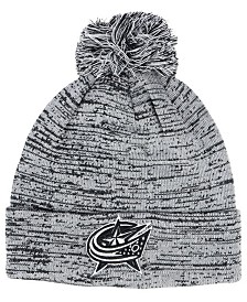 Authentic NHL Headwear Columbus Blue Jackets Black White Cuffed Pom Knit Hat