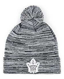 Toronto Maple Leafs Black White Cuffed Pom Knit Hat