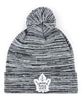 0fa31f657d3 Authentic NHL Headwear Toronto Maple Leafs Black White Cuffed Pom Knit Hat