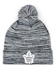 Authentic NHL Headwear Toronto Maple Leafs Black White Cuffed Pom Knit Hat