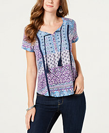Style & Co Petite Printed Crochet-Trim Peasant Top, Created for Macy's