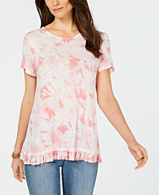 Style & Co Tie-Dye Ruffled-Hem T-Shirt, Created for Macy's