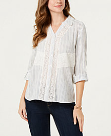 Style & Co Petite Cotton Eyelet Button-Up Shirt, Created for Macy's