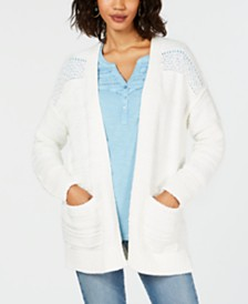 Style & Co Open-Front Pointelle-Knit Cardigan, Created for Macy's
