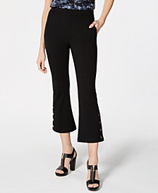 MICHAEL Michael Kors Flare-Leg Buttoned-Cuff Capris, In Regular & Petite Sizes
