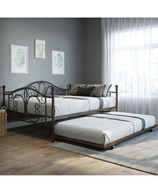 EveryRoom Bradford Twin Twin Metal Daybed and Twin Size Trundle