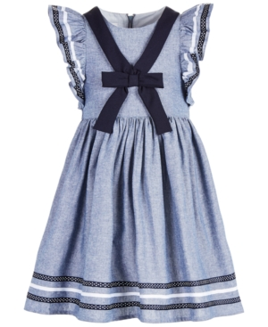 Vintage Style Children's Clothing: Girls, Boys, Baby, Toddler Bonnie Jean Toddler Girls Chambray Sailor Dress $33.99 AT vintagedancer.com