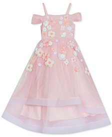 Rare Editions Toddler Girls Floral Embroidered Off-the-Shoulder Gown