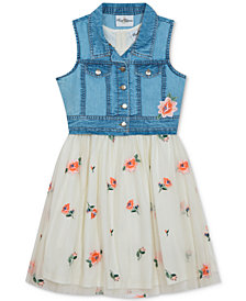Rare Editions Little Girls Embroidered-Mesh Dress & Denim Vest