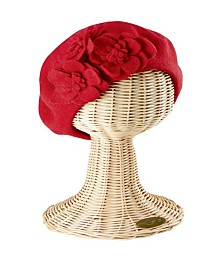 San Diego Hat Company Wool Beret with Flowers