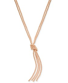 """Colored Imitation Pearl Knotted Lariat Necklace, 28"""" + 2"""" extender, Created for Macy's"""