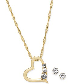 Gold-Tone 2-Pc. Set Crystal Heart Pendant Necklace & Stud Earrings, Created for Macy's