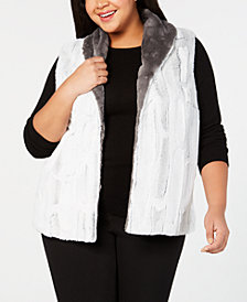 Alfred Dunner Plus Size Stocking Stuffers Reversible Faux-Fur Vest