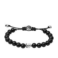 Men's Stacked Black Agate Bead Bracelet