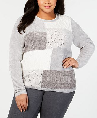 Alfred Dunner Plus Size Patchwork Chenille Sweater Sweaters Plus