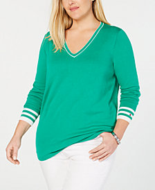 Tommy Hilfiger Cotton Plus Size V-Neck Sweater, Created for Macy's