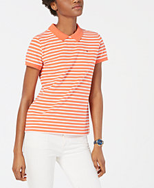 Tommy Hilfiger Striped Zip-Back Polo Shirt, Created for Macy's