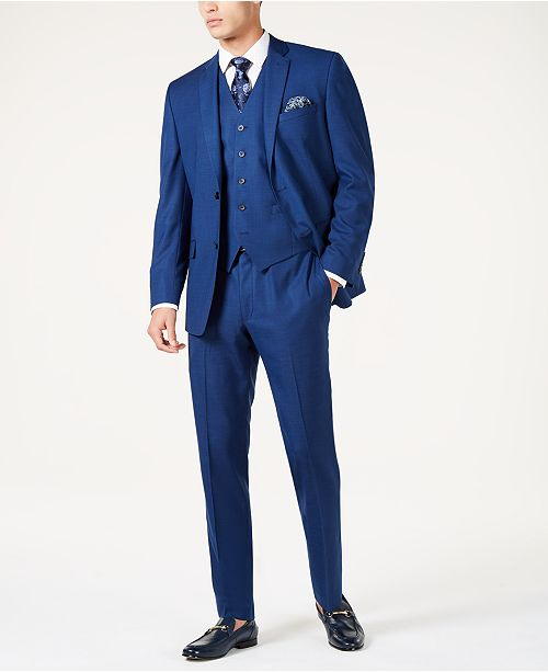 Marc New York by Andrew Marc Men's Modern-Fit Stretch Medium Blue Vested Suit