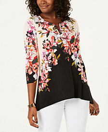 JM Collection Petite Printed Toggle-Chain Top, Created for Macy's