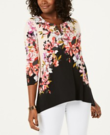 JM Collection Chain-Link Printed Tunic, Created for Macy's