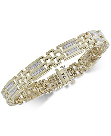 Men's Diamond Link Bracelet (1 ct. t.w.) in 18k Gold-Plated Sterling Silver
