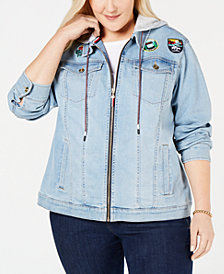 Tommy Hilfiger Plus Size Hooded Denim Jacket, Created for Macy's