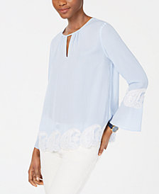 Tommy Hilfiger Lace-Trim Striped Blouse, Created for Macy's