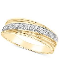 Men's Diamond Diagonal Band (1/2 ct. t.w.) in 10k Gold
