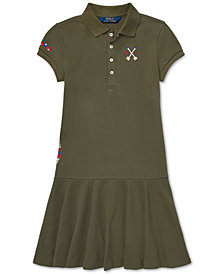 Polo Ralph Lauren Big Girls Embroidered Mesh Polo Dress
