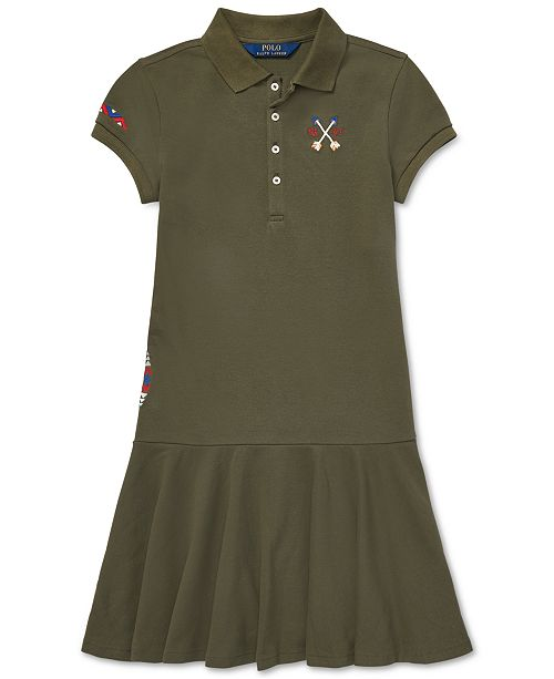 06de9653e7 Polo Ralph Lauren Big Girls Embroidered Mesh Polo Dress & Reviews ...