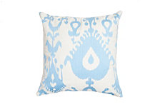 Edie@Home Oversized Ikat Embroidered Pillow Ice