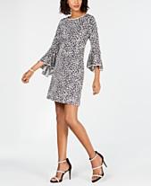 3fab11429ed MSK Animal-Print Bell-Sleeve Shift Dress