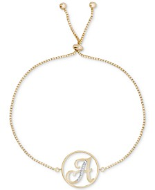 Diamond Accent Initial Bolo Bracelet in 18k Gold-Plate